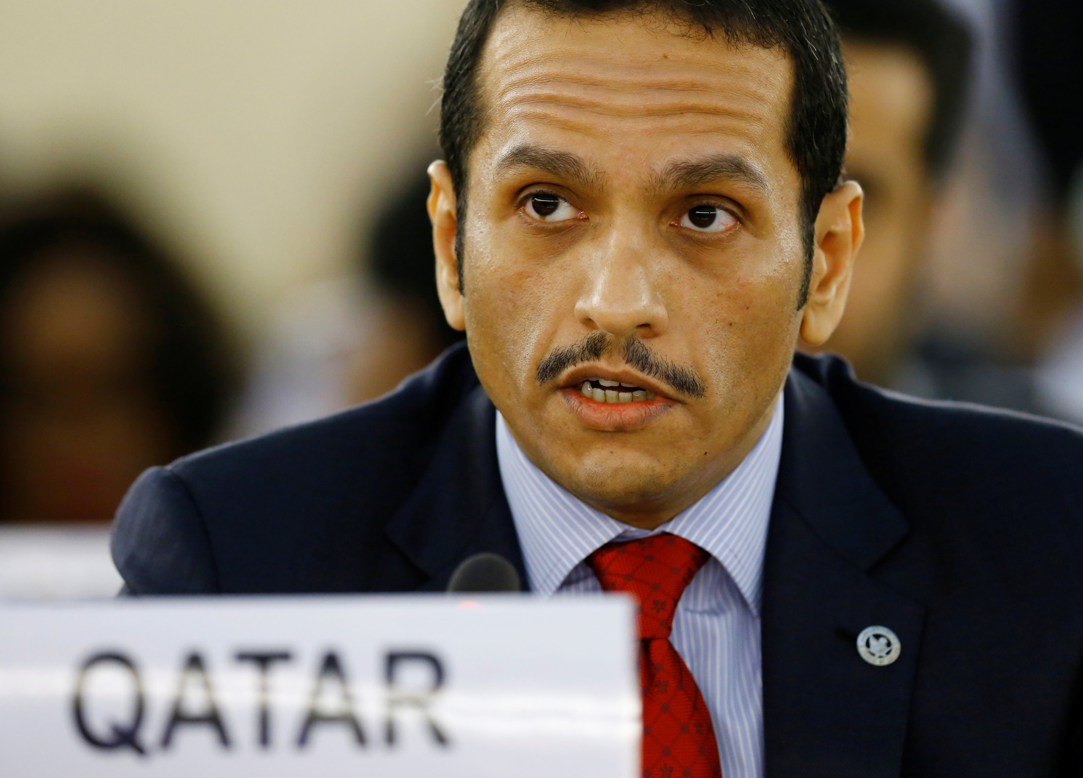 Qatar's foreign minister Sheikh Mohammed bin Abdulrahman al-Thani attends the 36th Session of the Human Rights Council in Geneva