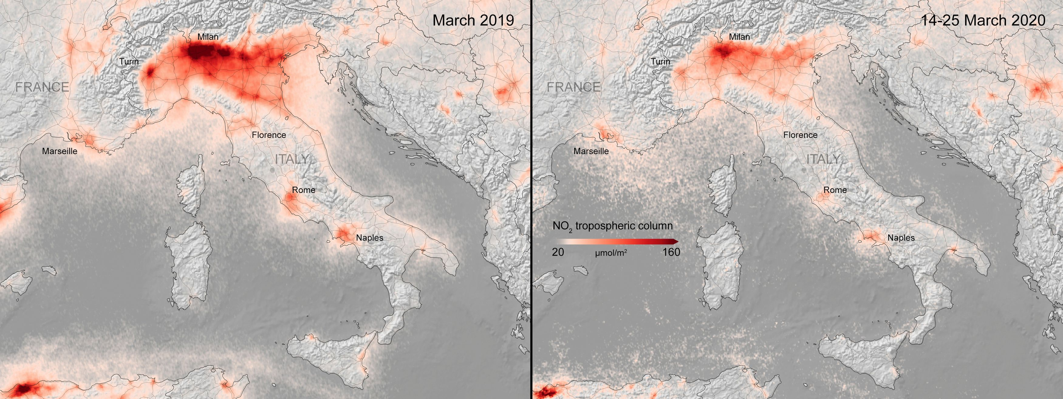 A combination image from the ESA shows the average nitrogen dioxide concentrations from air pollution across Italy