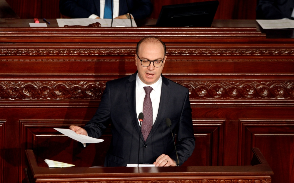 FILE PHOTO: Tunisia's prime minister designate Elyes Fakhfakh speaks at the Assembly of People's Representatives in Tunis