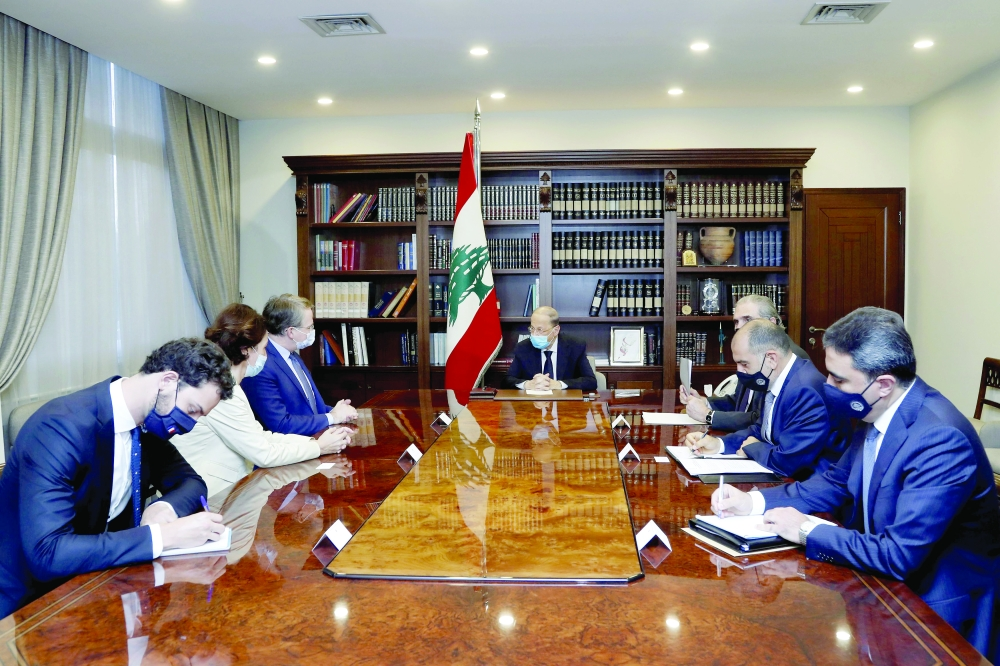Lebanon's President Michel Aoun meets with Patrick Durel, President Emmanuel Macron's advisor for the Middle East and North Africa, at the presidential palace in Baabda